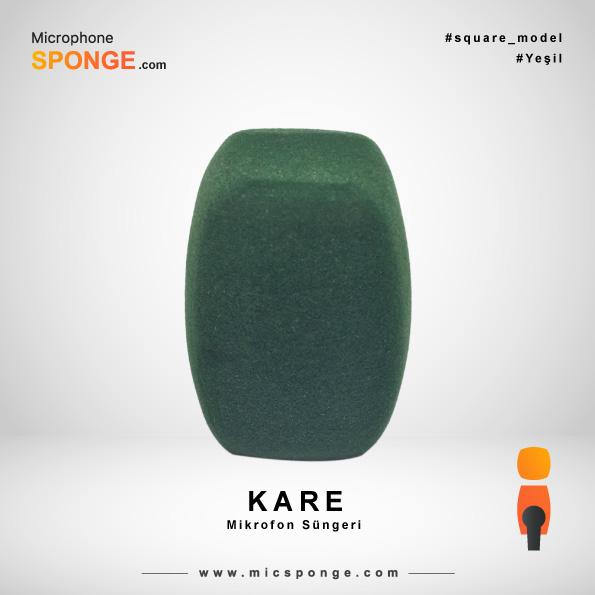 Kare Mikrofon Süngeri Yeşil