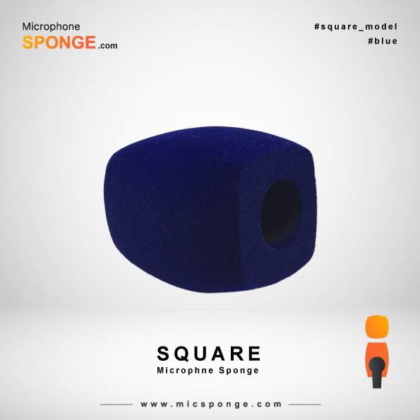 Navy Blue Square Microphone Sponge