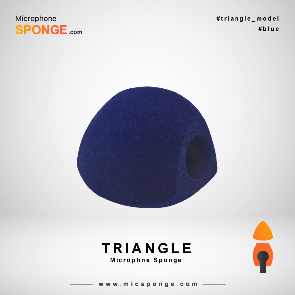 Navy Blue Triangle Microphone Sponge