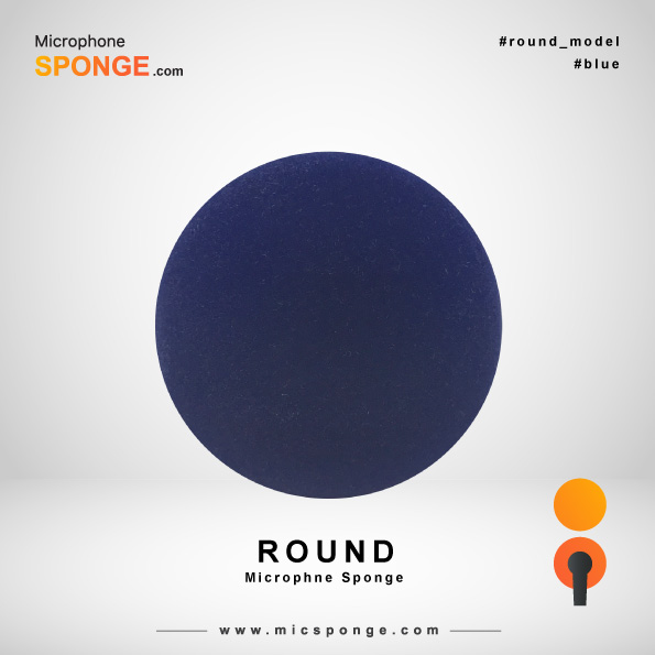Round Navy Blue Microphone Sponge