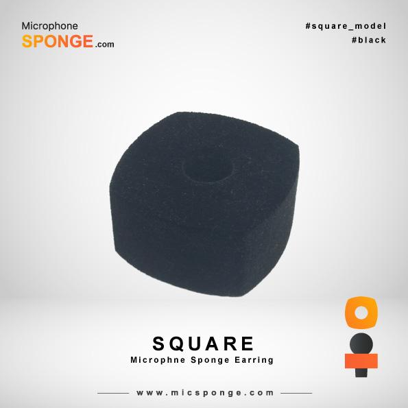 Square Black Microphone Sponges