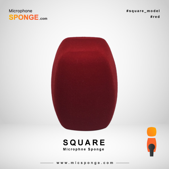 Square Red Microphone Sponge