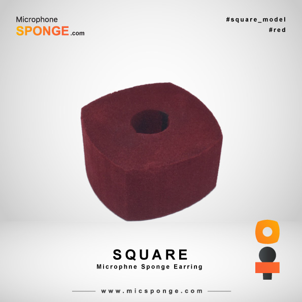 Square Red Microphone Sponges