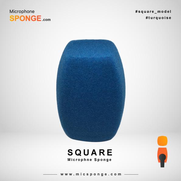 Square Turquoise Microphone Sponge