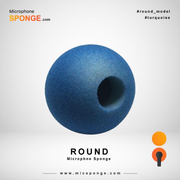 Turquoise Round Microphone Sponge