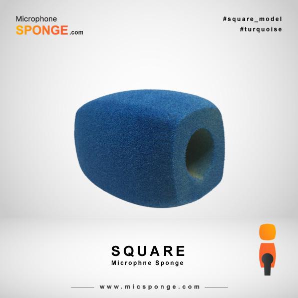 Бирюзовая квадратная модель чехла из губки на микрофон