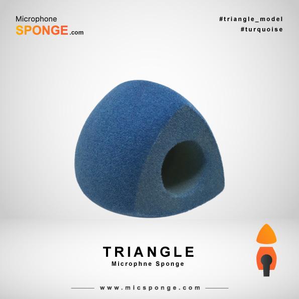 Бирюзовая треугольная модель чехла из губки на микрофон