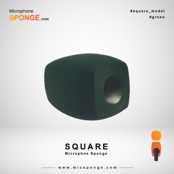 Зеленая квадратная модель чехла из губки на микрофон