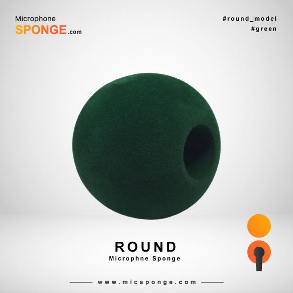 Зеленая круглая модель чехла из губки на микрофон