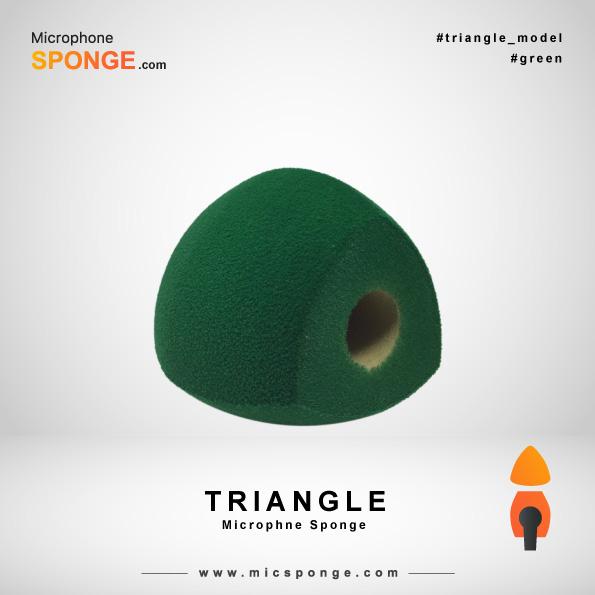Зеленая треугольная модель чехла из губки на микрофон