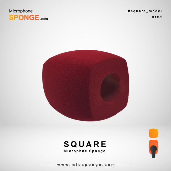 Красная квадратная модель чехла из губки на микрофон