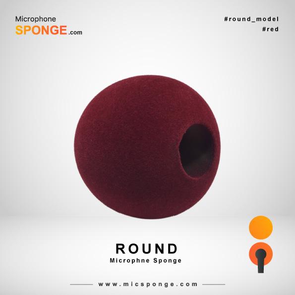 Красная круглая модель чехла из губки на микрофон
