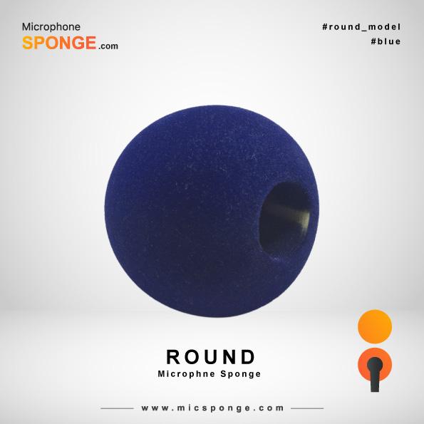 Темно-синяя модель круглого чехла из губки на микрофон