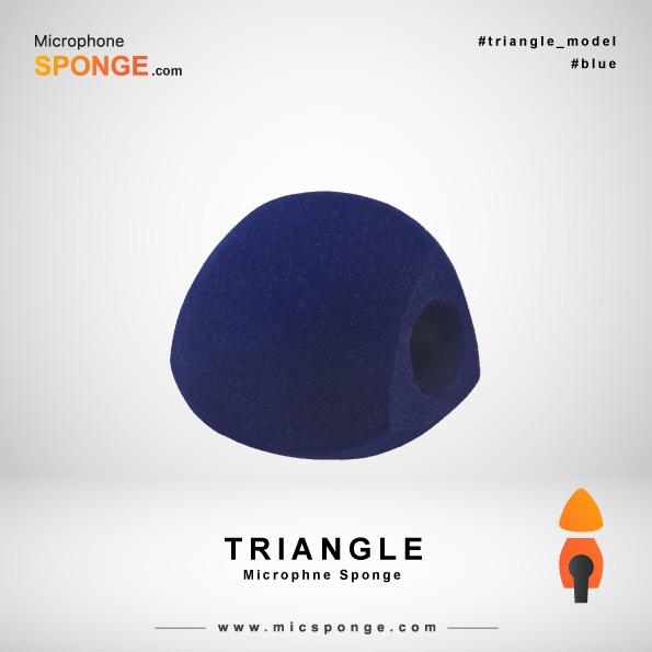 Темно-синяя треугольная модель чехла из губки на микрофон