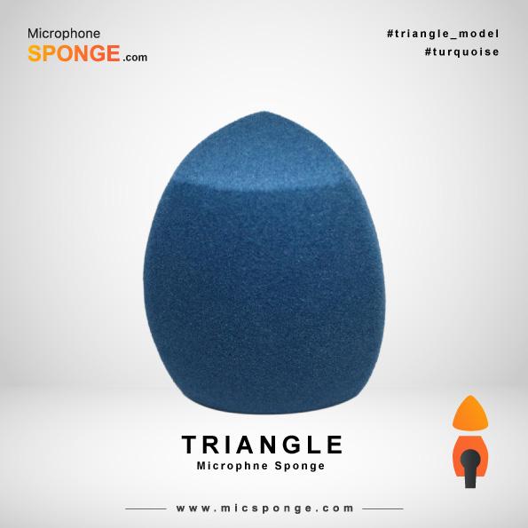 Треугольная бирюзовая ветрозащита на микрофон