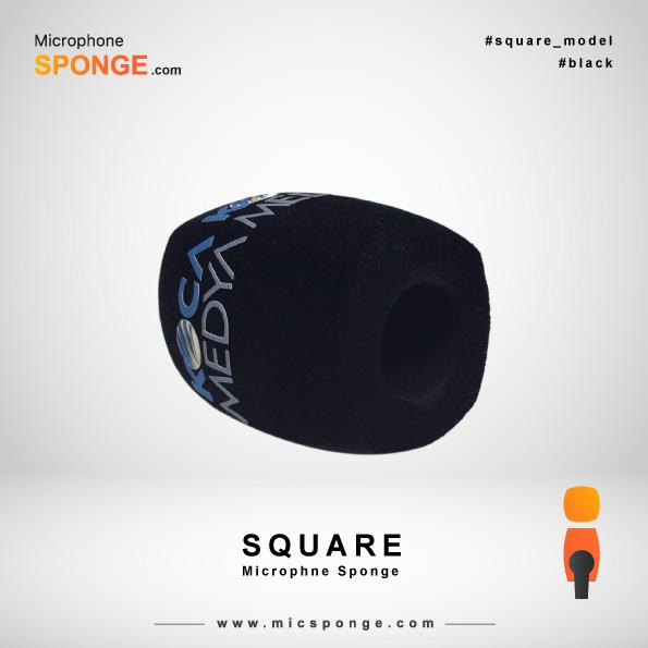 Черная квадратная модель чехла из губки на микрофон