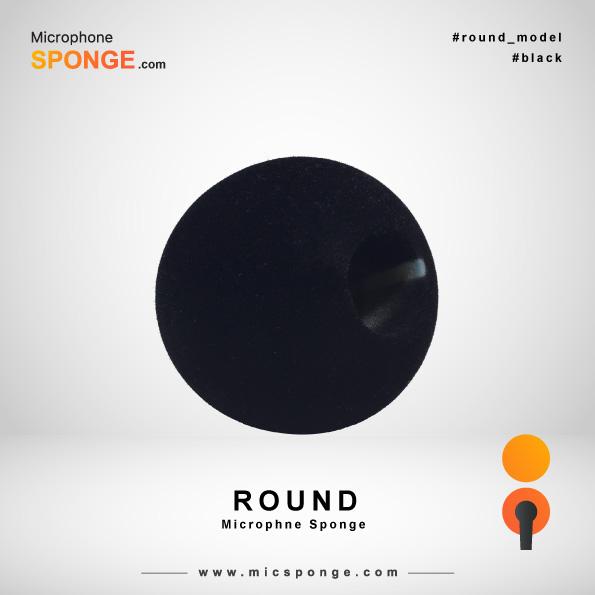 Черная круглая модель чехла из губки на микрофон
