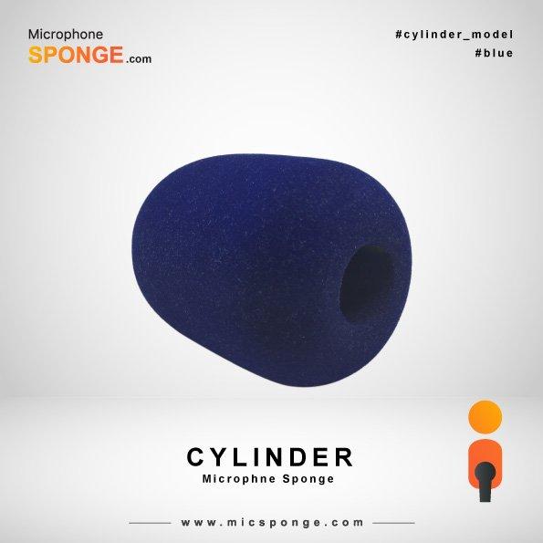 Navy Blue Cylinder Microphone Sponge