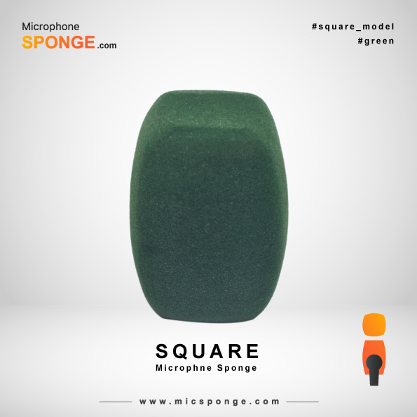 Square Green Microphone Sponge