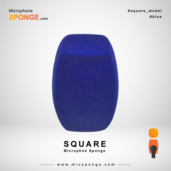 Square Navy Blue Microphone Sponge