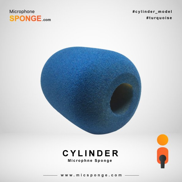 Turquoise Cylinder Microphone Sponge