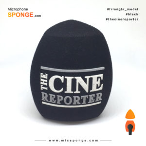 Microphone sponge with The Cine Reporter Logo on Mic cover